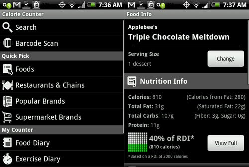Calorie Counter Puts Nutritional Index Right in Your Android Phone