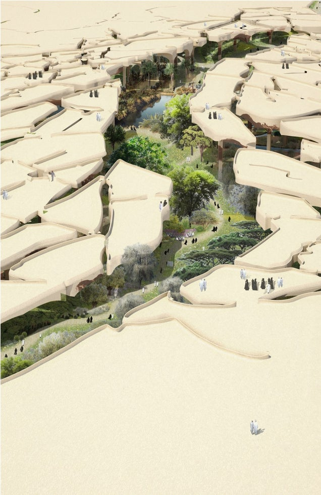 Abu Dhabi's New Park Will Hide a 30 Acre Oasis Below Parched Desert