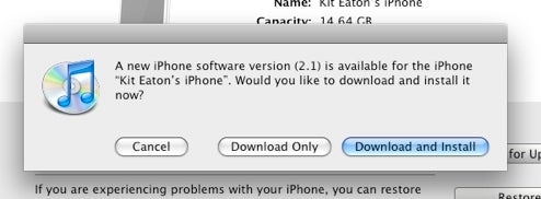 iPhone 2.1 Update Available Now