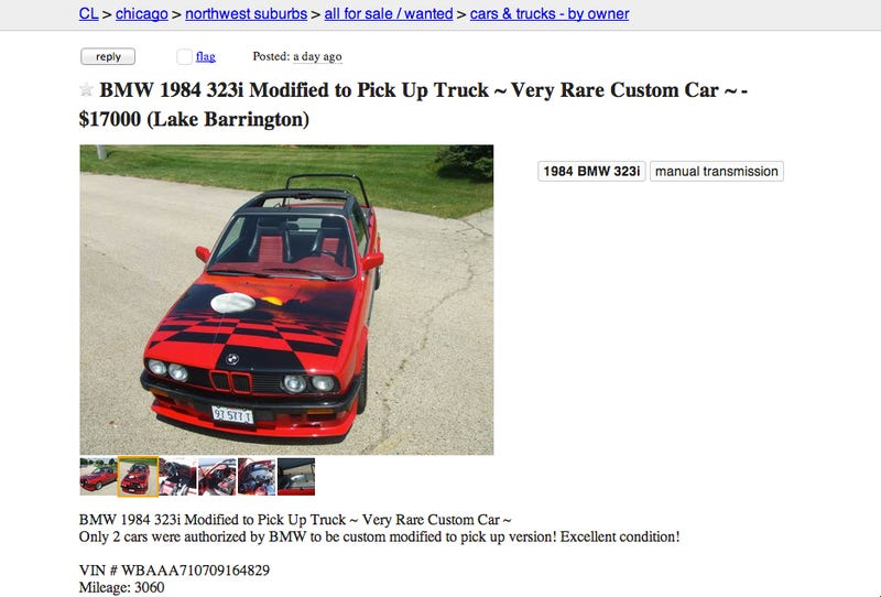 Guy On Craigslist Claims This BMW E30 Pickup Is 'Factory Authorized'