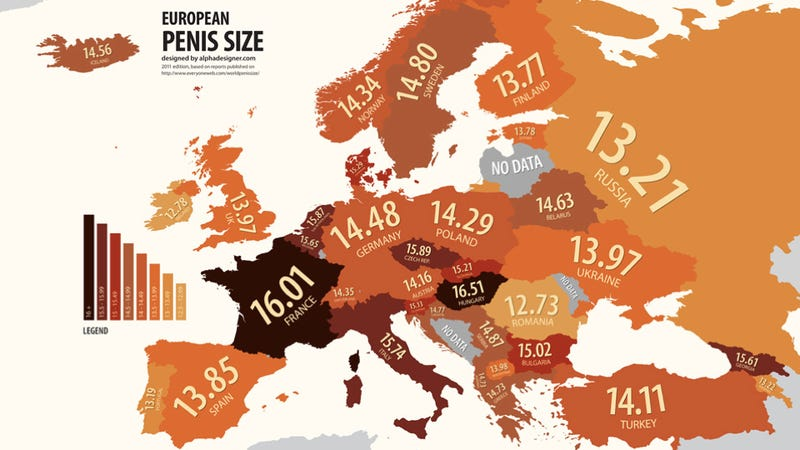 A totally worthless map of European penis sizes