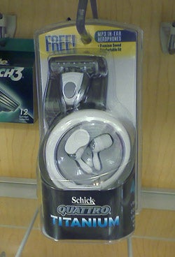 Weird Combo of the Day: Schick Quattro with Earbuds