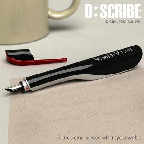 D:Scribe Fountain Pen Writes SMS, Emails