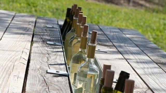 Add a Rain Gutter to a Picnic Table for a Built-In Drink Cooler