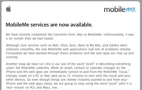 Apple Admits MobileMe Snags, Gives Free 30-Day Extension