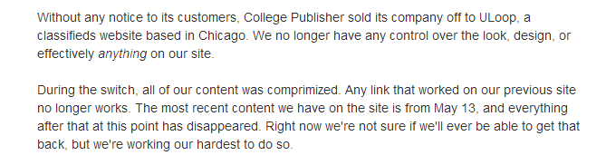 College Publisher Sale Causes Problems
