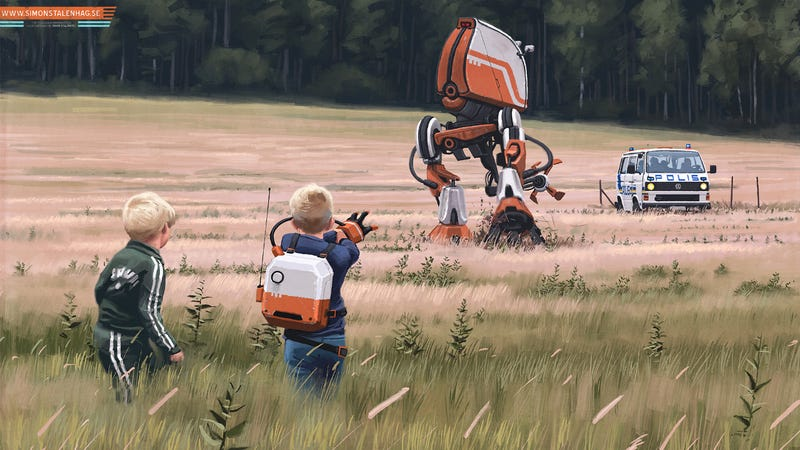 Simon Stålenhag's futurescapes feature classic European cars