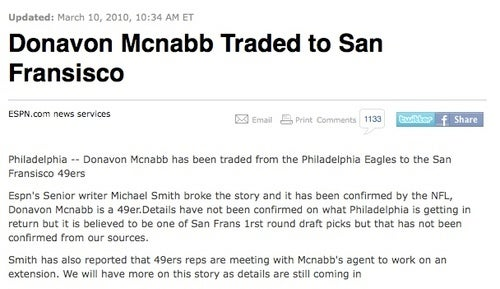 Donavon Mcnabb Traded To San Fransisco; Donovan McNabb Still On Eagles