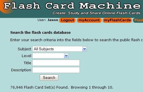 FlashCardMachine Helps You Create, Share, and Find Thousands of Flashcard Sets