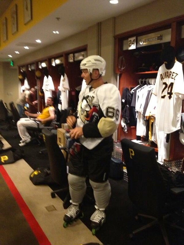 A Pirates Player Came To Work Today Dressed Like Mario Lemieux