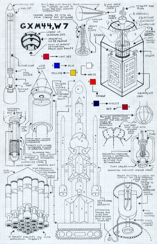 Mad scientist's schematics for imaginary weapons of mass destruction