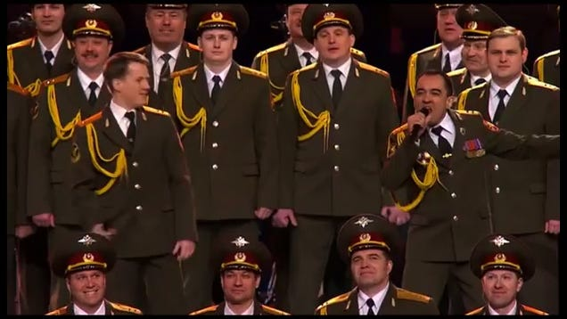 Watch a russian police choir sing get lucky at the opening