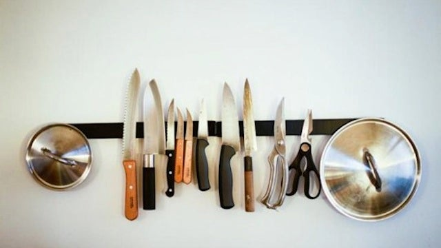 Organize Metal Pot Lids with a Magnetic Knife Rack
