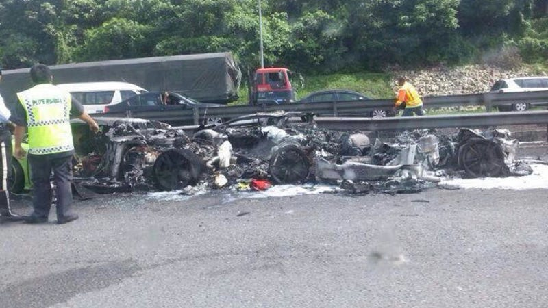 Three Lamborghinis Crash Together In Malaysia, Burn To Ground Together [UPDATE: Now With Video]