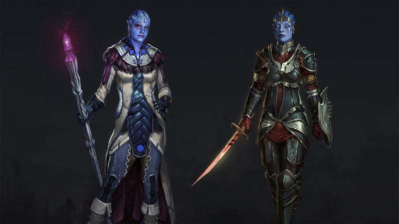 Asari Biotics Liara and Samara Look Fantastic As a Mage And a Templar In Dragon Age