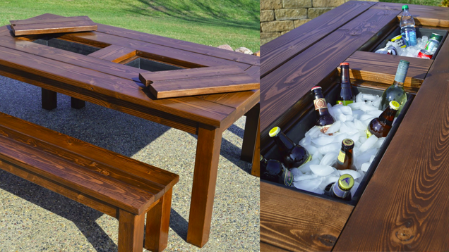 This diy patio table sports a built in drink cooler Picnic table with cooler plans