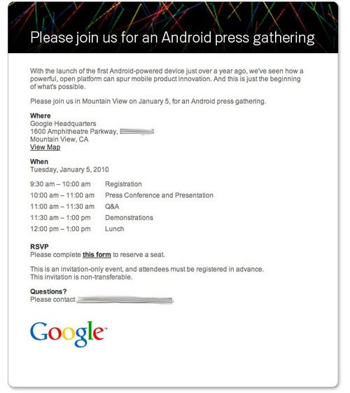 Android Event Scheduled for January 5th: The Google Phone Is Nigh