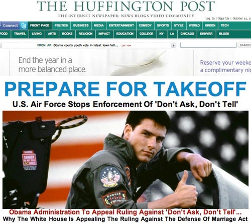 Tom Cruise May Now Have Sex With Air Force Men, Says the Huffington Post