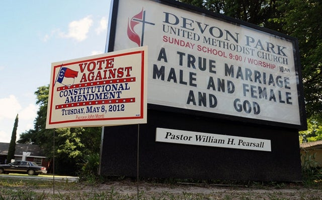 North Carolina Voters Make Marriage Between a Man and a Woman the Only Legal Domestic Union