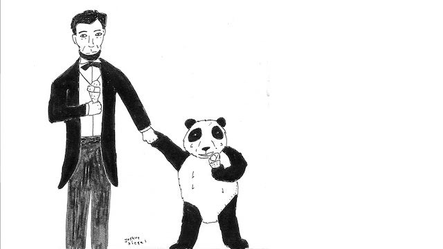 Abe Lincoln Enjoys Some Ice Cream With A Panda