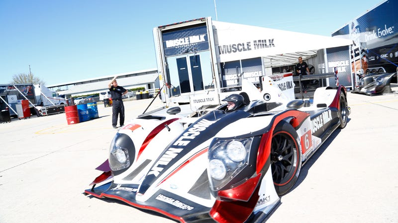 The Muscle Milk LMP1 car is pretty crazy to drive