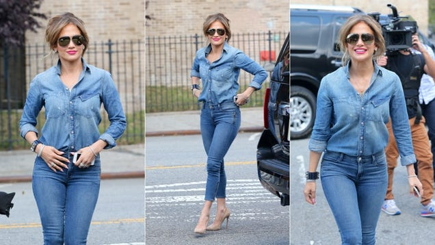 Jennifer Lopez Catches Fall's Highly Contagious Denim on Denim Virus