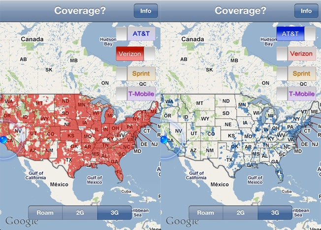 Resolve Your Verizon vs AT&T Cat Fights with the iPhone Coverage App