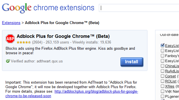 AdThwart Quietly Becomes Adblock Plus for Chrome, Adds Updated Filters