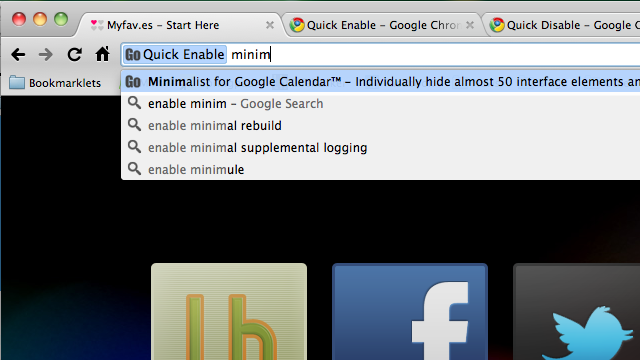 Quick Enable and Disable Toggle Extensions On and Off from Chrome's Address Bar