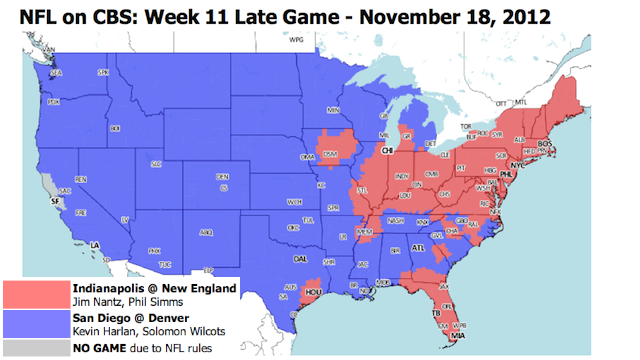 Which TV Market Is Getting Screwed This Sunday? An Analysis Of Week 11 NFL Viewing Maps