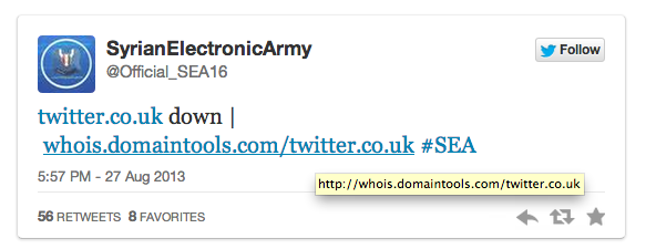 Syrian Electronic Army Claims It's Taken Over Twitter's Domain (Updated)
