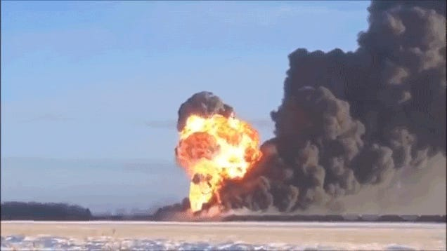 Holy crap, this train derailment created a massive freaking explosion