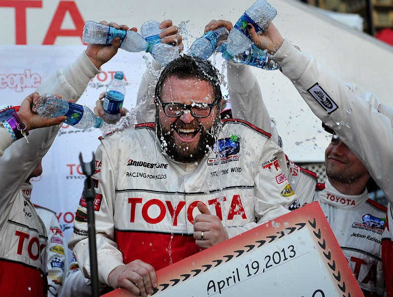 Who won yesterday's Toyota Pro/Celebrity race at the Long Beach Grand Prix?