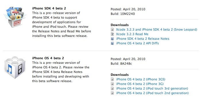 iPhone OS 4.0 Beta 2 Is Here