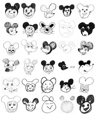 Draw Mickey Mouse just from Mickey Mouse Love Drawings