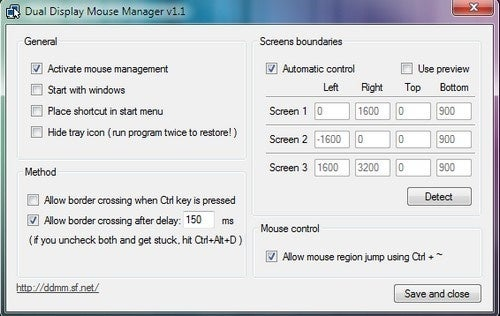 Dual Display Mouse Manager Slows Your Mouse Cursor at Screen Edges