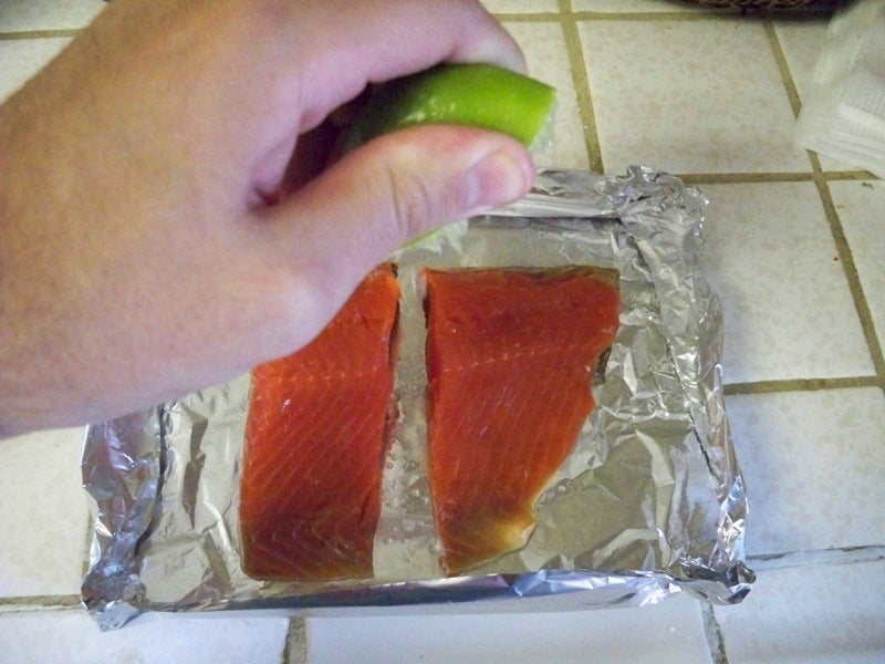 MacGyver Chef: Dishwasher-Steamed Salmon With Cilantro Sauce