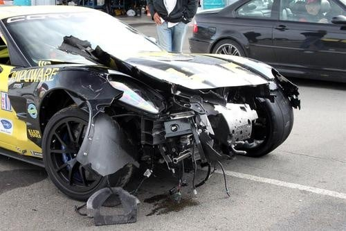 Racing Corvette ZR1 Crash