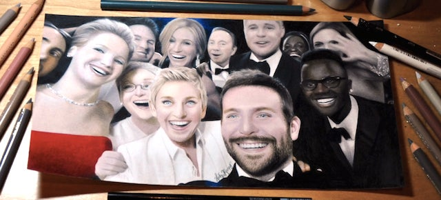 Watch this girl draw a shockingly perfect picture of the Ellen selfie