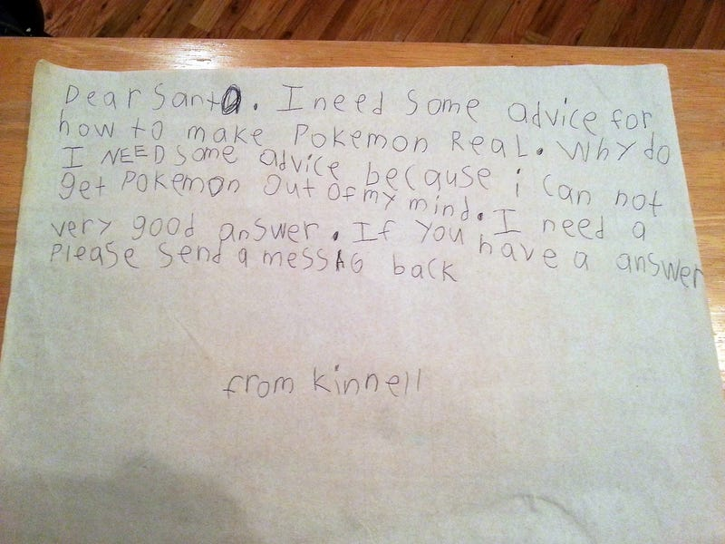 Little Kid Is Upset Pokémon Aren't Real, Writes To Santa For Advice