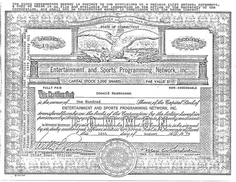 "Artifact: The ""Quiet Founder"" Of ESPN's $10 Million Stock Certificate"
