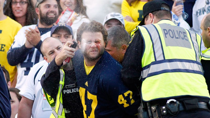 Hey Look, A Michigan Fan Getting Maced In The Face [Update: Video]