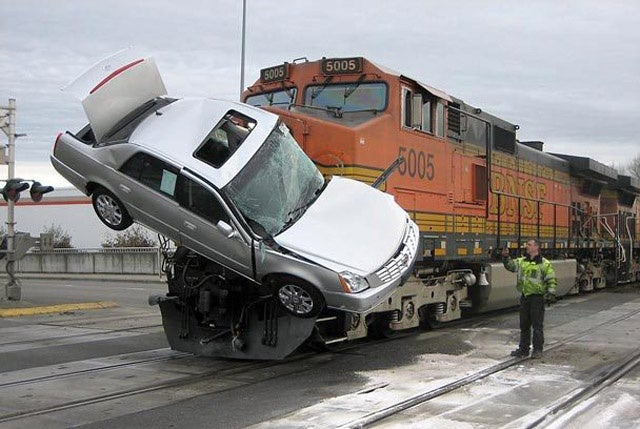 Train Skewers Car Carrier In Washington, Gets Cadillac DTS Hood Ornament