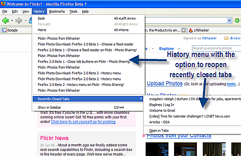 Firefox 2.0 Beta 1 screenshots