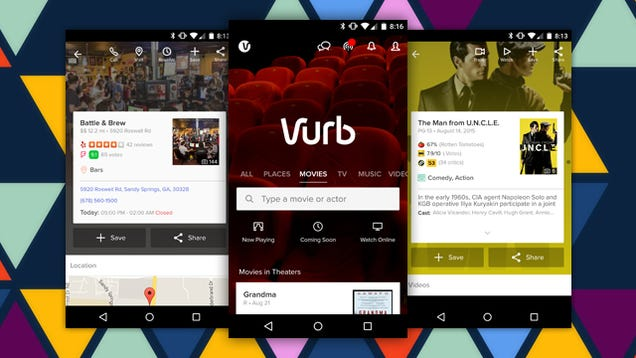 Vurb Searches Dozens of Services, Saves Info About Movies, Events, and More