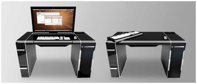 Sync Desktop: A Workspace With Integrated PC and Fold-Away Monitor