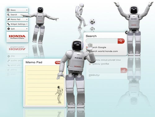 Note-Taking, Soccer-Playing Honda Asimo Desktop Widget