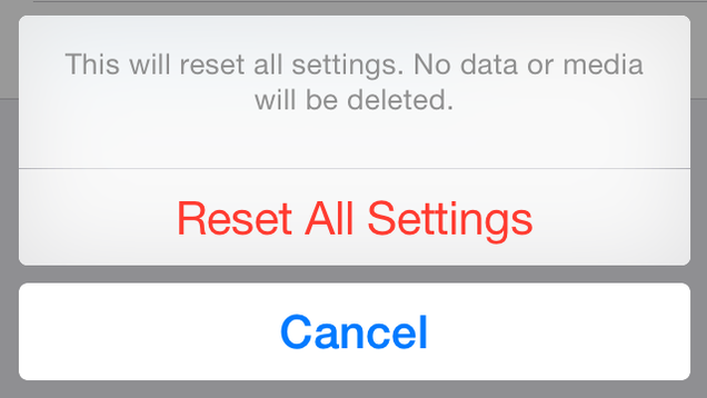 Don't 'Reset All Settings' in
