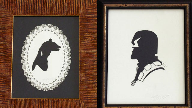 Victorian paper silhouettes of famous (and infamous) scifi characters