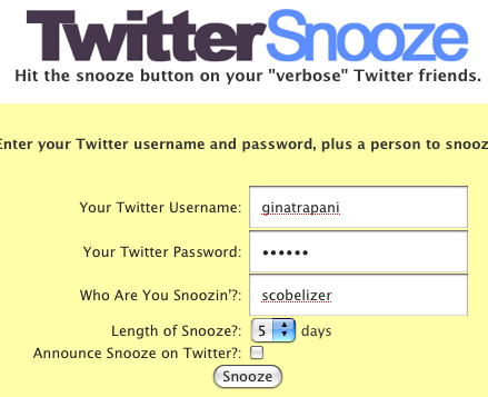 Snooze Chatty Twitter Friends